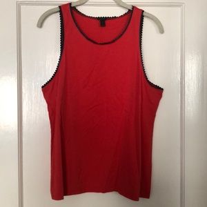 JCrew Red Tank Top with Black Scallop Trim - L